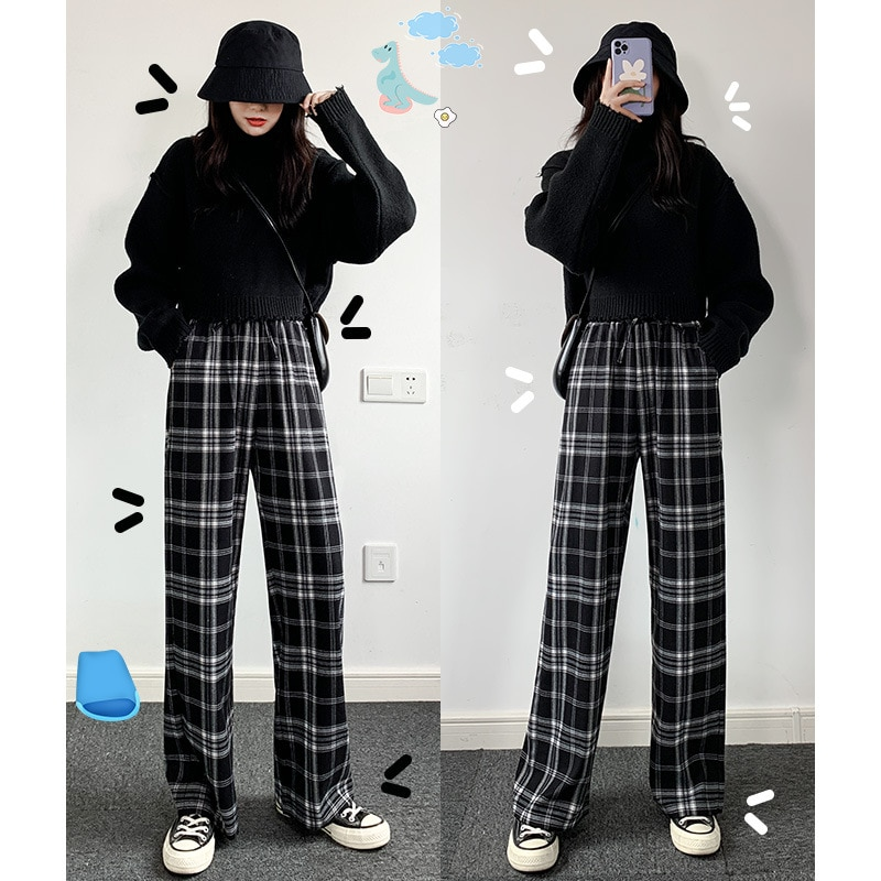 Vintage Plaid Pants Elastic Waist Women High Plus Size Wide Leg Casual Female Korean Girls Trouser S-2XL