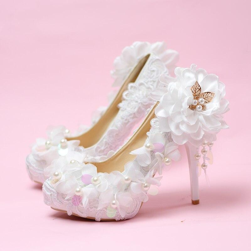 Wedding Shoes Lace Sequins Flowers Princess High-heeled Shoes Women's Single Brides Shoes Elegant Pearl Plataformas Mujer Pumps