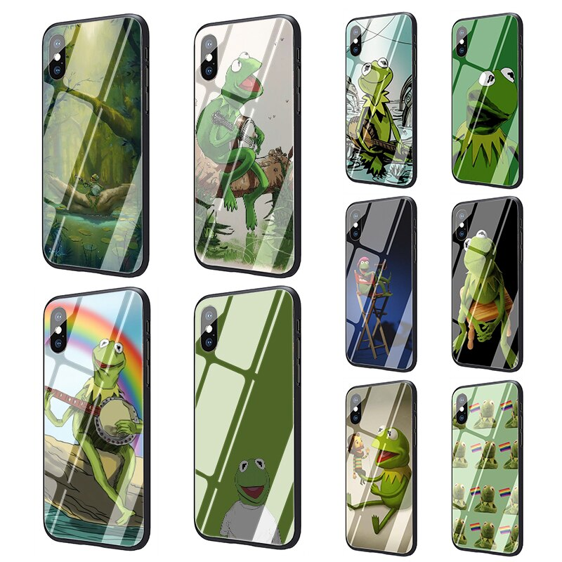 Vidrio templado de caso para iphone 5 5s SE 2020 6 6s 7 7 plus X XR XS 11 pro Max KERMIT la Rana