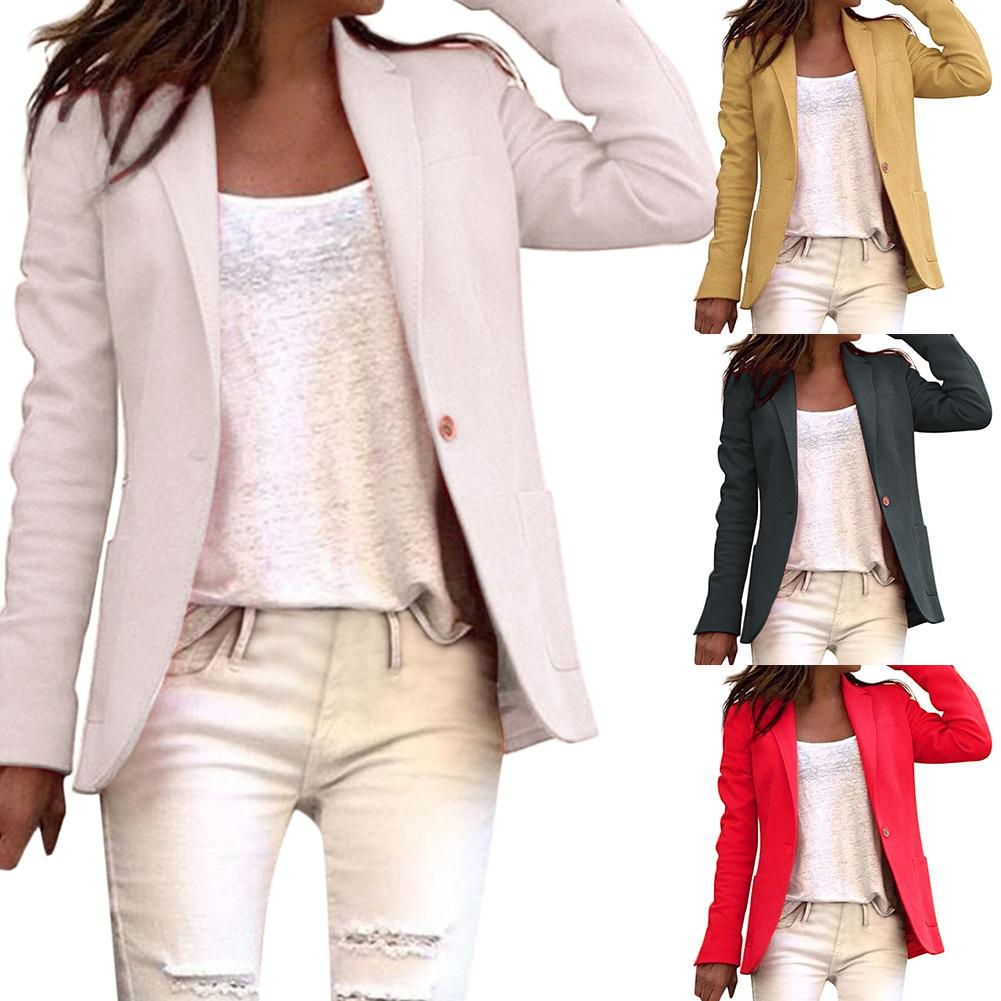 1pc Office Lady Besiness Blazer Solid Color Single Button Women Blazer Long Sleeve Suit Basic Coat B