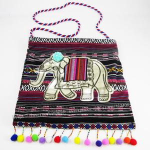 Free shipping Vintage Hmong Tribal Ethnic Thai Indian Boho Elephant shoulder message pom bag for women embroidery Tapestry 2001