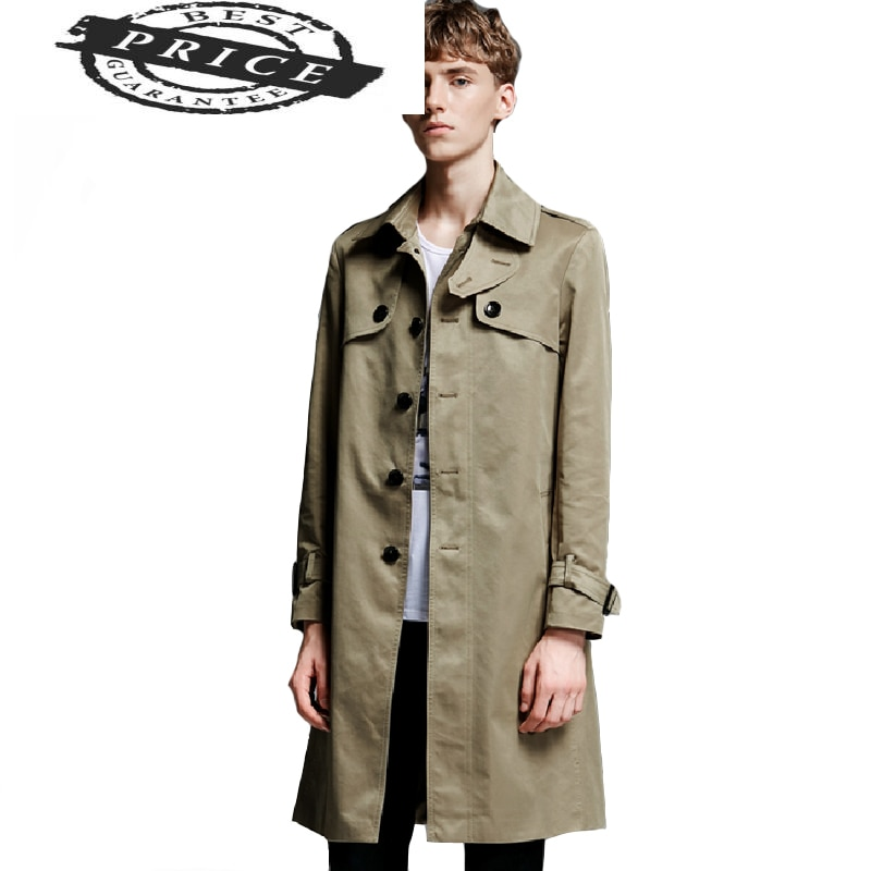 Gabardina abrigo largo de una sola botonadura para hombre, abrigo cortavientos de...