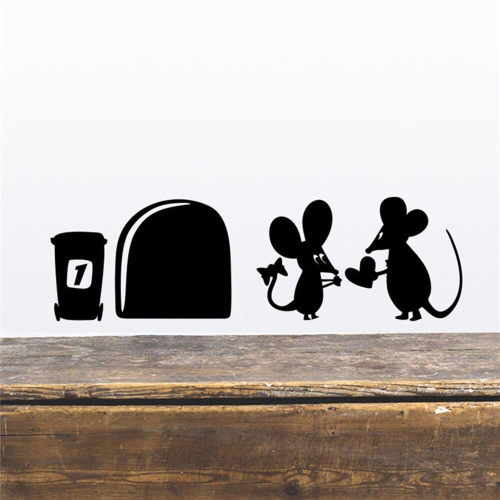 Pegatina de pared divertida de Litte Mouse Hole amor póster de pared para niños habitación esquina pared decoración casa decoración Navidad