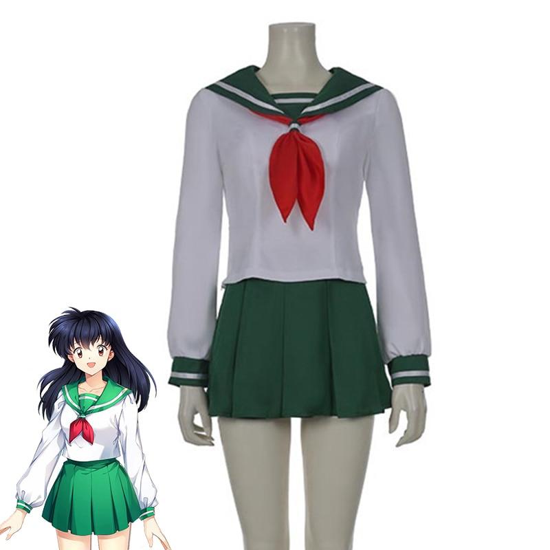 Anime Inuyasha Higurashi Kagome uniforme escolar Cosplay de Halloween mujeres Concha chicas traje de marinero trajes tamaño personalizado