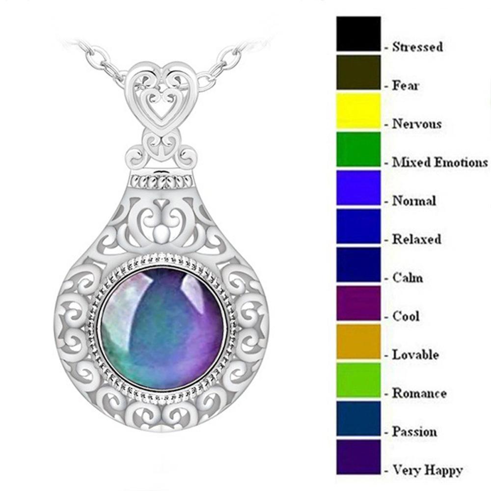 Colares retrô, colar da moda, colar com pingente redondo, palácio, controle de temperatura, muda de cor, colar, corrente de aço inoxidável