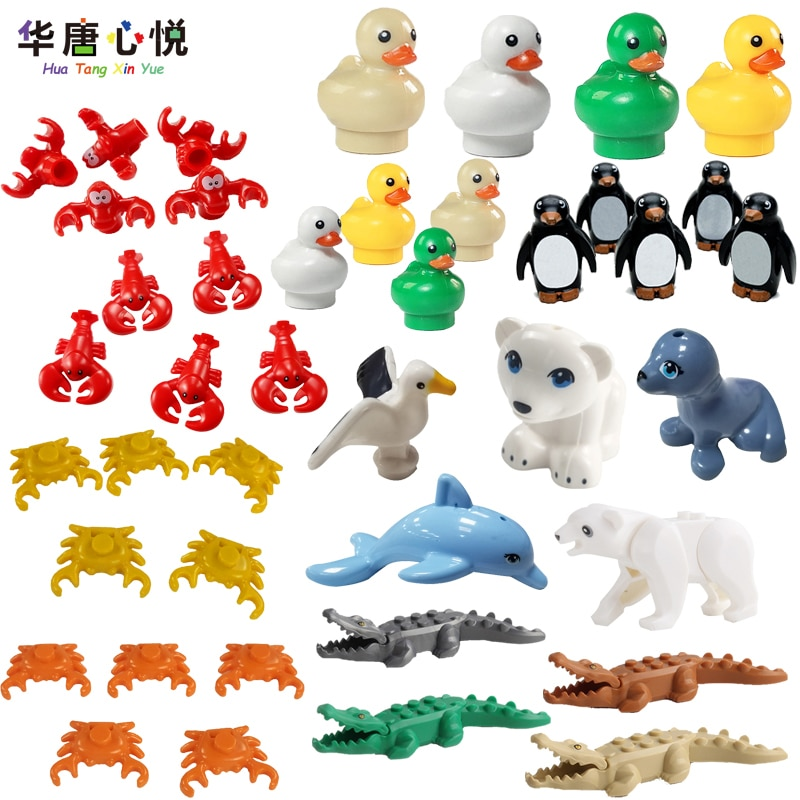 MOC City Animal Series Suits Cute Small Model Seagull Penguin Little Duck Seal Building Blocks Educational Toys Cities Toy Gifts