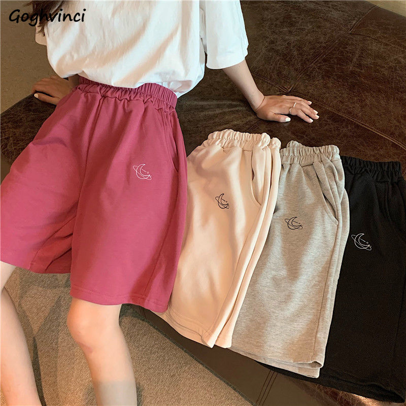 Shorts Women Embroidery Elasticity Lovely Girls Korean Style Sweet Students Harajuku Colorful Simple Oversize Trousers Female
