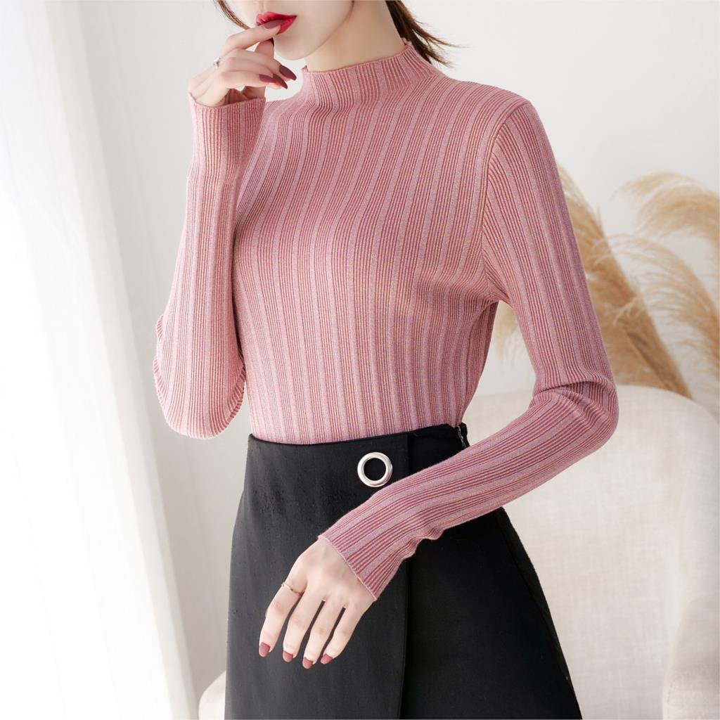 Women knitted cotton 2019Women Sweater Autumn and Winter New Half Turtleneck Sweater Pullover Warm Soft Full Sleeve Knit sweater hdy haoduoyi 2018 new arrival beige knit half necked openwork loose pullover sweater autumn winter