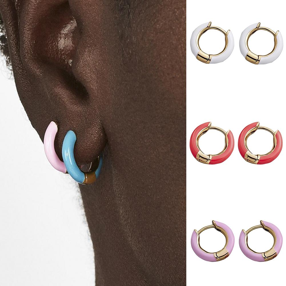 Bohemia brincos vintage moda feminina simples geométrica c em forma de manguito brincos de orelha charme esmalte mini hoop brincos para presente feminino