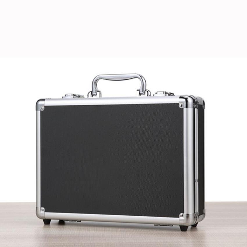Алюминиевый жесткий чехол-портфель, чехол для инструментов серебристого/черного цвета, чехол для переноски с тканевой подкладкой, чехол s, п... чехол