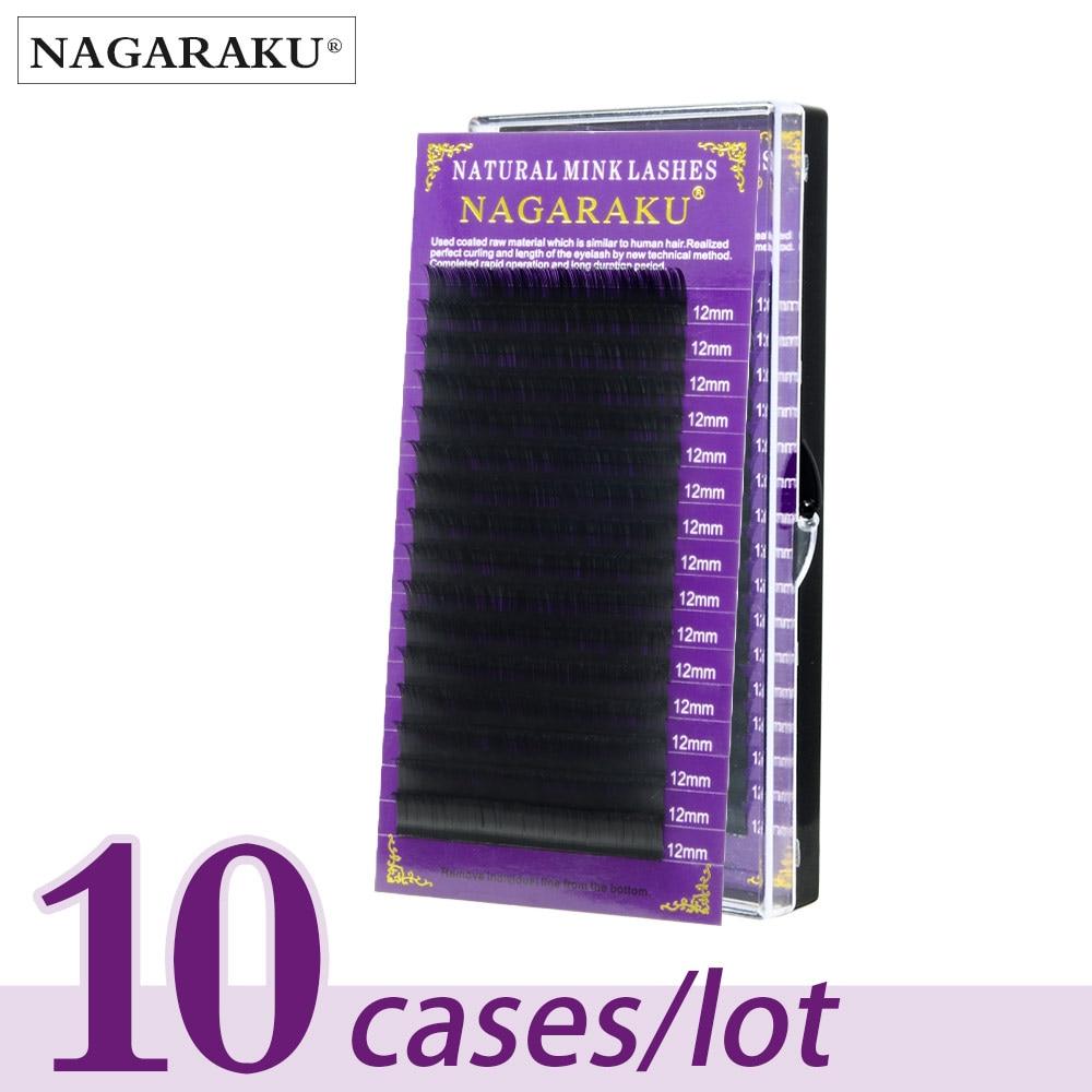 NAGARAKU-رموش مينك طبيعية فاخرة ، مكياج فردي ، 10 علب/دفعة ، صناعة يدوية