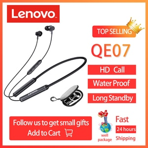 Lenovo QE07 Bluetooth  Wireless Headphones Waterproof Neckband Earbuds, Headset Stereo Headset with Noise Cancelling Microphone