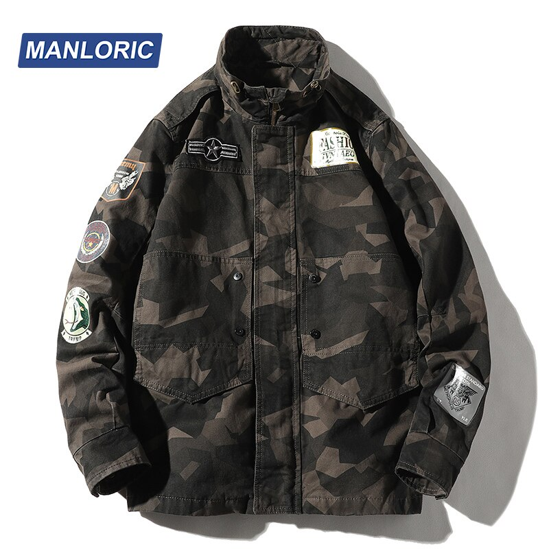 MANLORIC 2020 Fall and Winter Cotton Stand Collar Camouflage Casual Man Jacket  Fashion Men Clothing Japanese Streetwear Coat