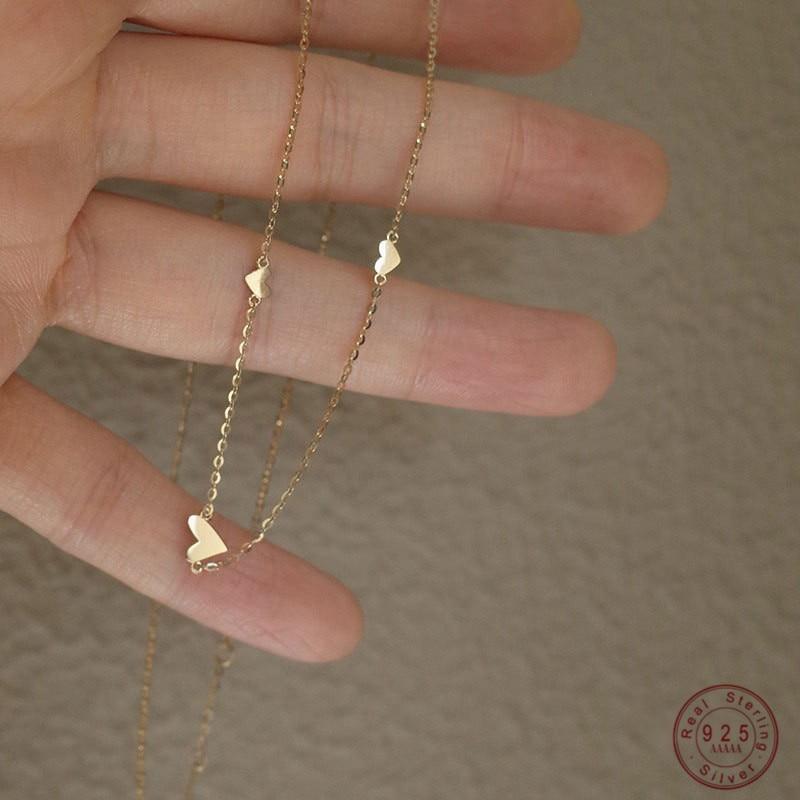 Простое-Ожерелье-из-стерлингового-серебра-925-пробы-с-тремя-сердечками-для-женщин-корейские-свадебные-украшения-подарок-на-день-Святого-Вал