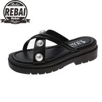 summer women slippers women shoes flat slippers women 2021 new design open toe pearl embellished flip flop sandal ladies shoes