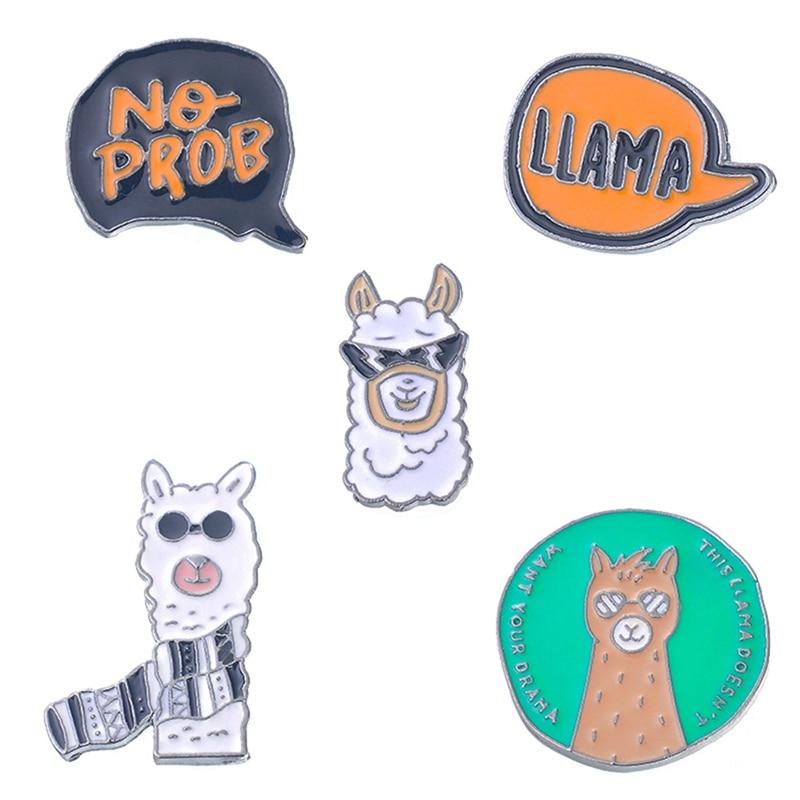 Colección de broches de dibujos animados, 1 Uds. De broches de animales de Alpaca de oveja para sombrero, insignias de letras, Pin esmaltado, broches de solapa para hombres y mujeres, regalo de joyería