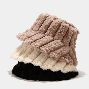 2021 New Fashion Winter bucket hat  for Women outdoor keep warm soft panama cap Lady's striped hat