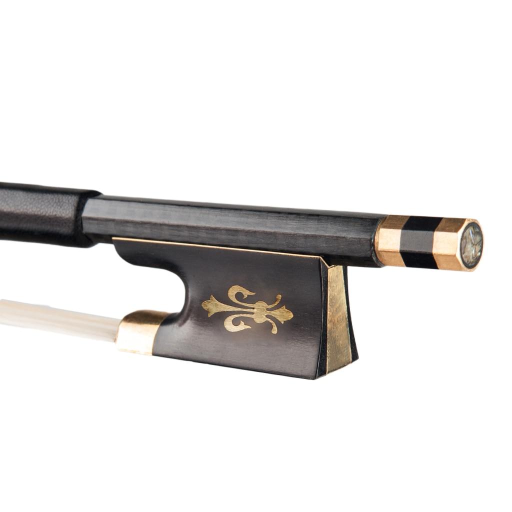 5pcs Violin Bow 4/4 Carbon Fiber Natural Horse Hair Ebony Frog Grid Carbon Fiber Round Fiddle Bow Acoustic Violin Accessories enlarge