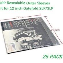 Fundas exteriores resellables de plástico OPP, 25 unidades, para disco de vinilo gatemold 2LP 3LP