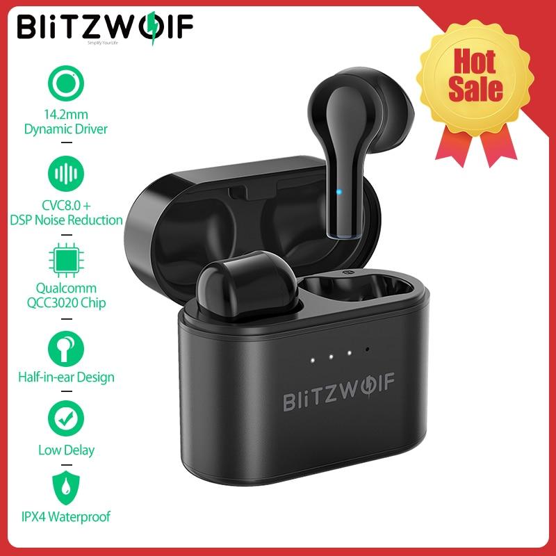 Fone de Ouvido sem Fio Fones de Ouvido Redução de Ruído Jogos com Botões Blitzwolf Bluetooth Metade In-ear Dsp Baixa Latência Microfone Acessórios Telefones Celulares Bw-fye9 Tws 5.0