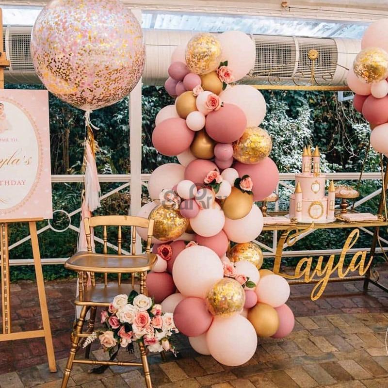 Guirnalda de globos rosa polvoriento/rosa para bebé, Kit DIY, Globos de Oro cromado para Género, decoración de ducha de bebé, Blush, recuerdo de ducha nupcial