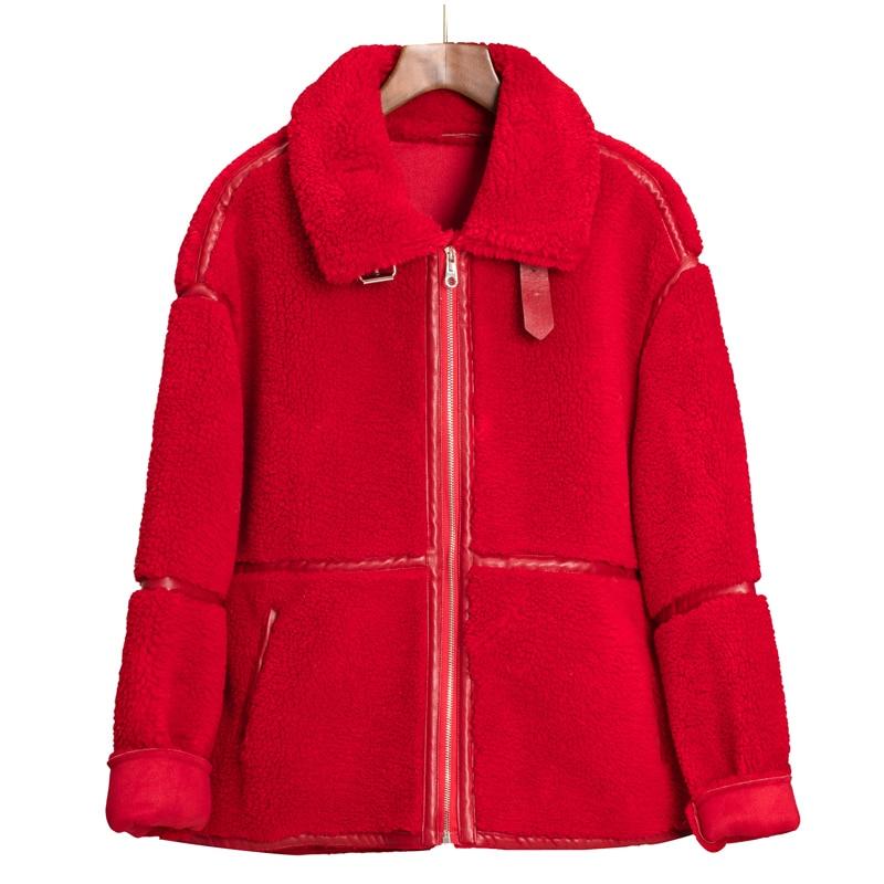Winter Warm Teddy Coat Women Faux Fur Jacket New Fashion Turn Down Collar Lamb Fur Coat Casual Zipper Pocket Ladies Outwear