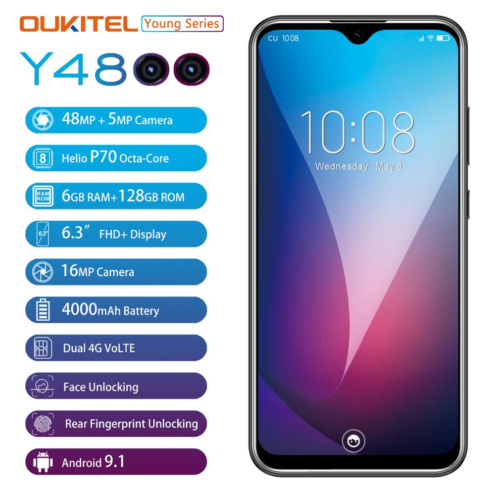 "6G RAM 128G ROM OUKITEL Y4800 Smartphone Android 9.0 6.3""19.5:9 FHD Octa Core Mobile Phone ID Fingerprint 4000mAh 9V/2A"