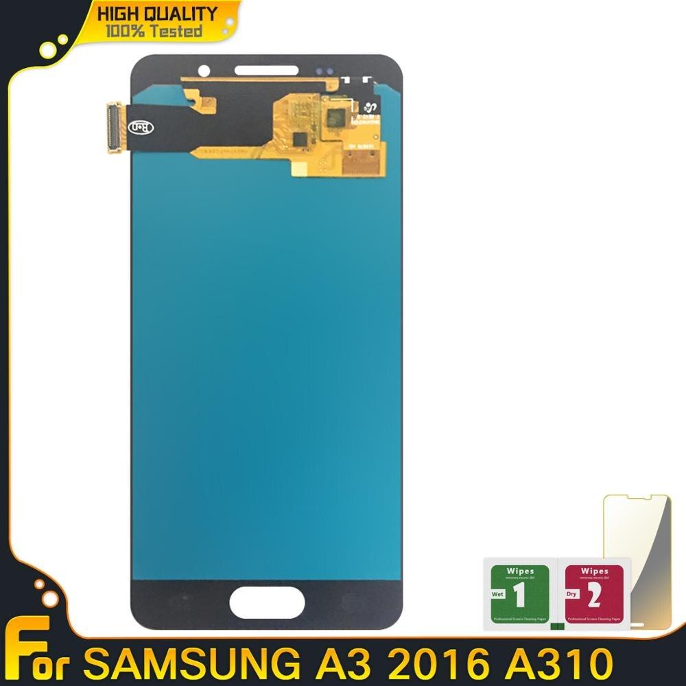 Nuevo LCD AMOLED para Samsung Galaxy A3 2016 A310 A310F A310H A310M A310Y piezas de montaje de digitalizador de pantalla táctil LCD