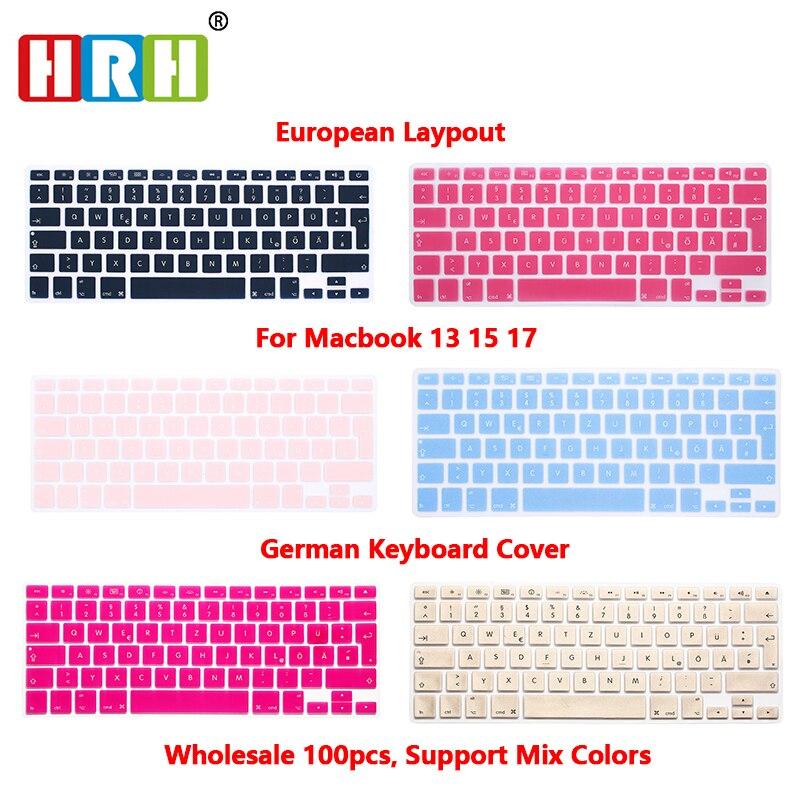 HRH 100pcs EU German QWERTZ Keyboard Protector For Macbook Air Pro Retina 13