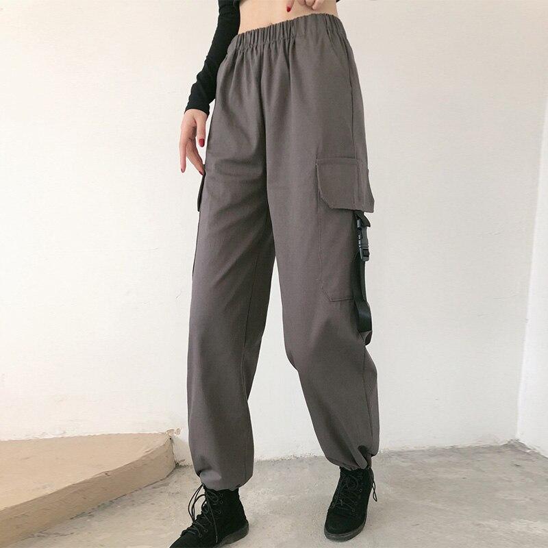 Брюки-карго женские до щиколотки, модные джоггеры с эластичным поясом, Свободные повседневные рандомные штаны, уличная одежда