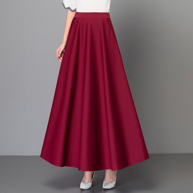 Elegant Plus Size 3xl Pleated Skirt Korean Red Black Solid Color Long Skirts Women High Waist Vintage Big Swing Office Maxi Saia