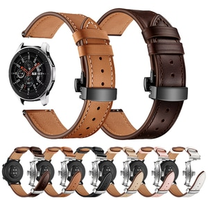 Butterfly Buckle Leather Strap for Samsung Galaxy Watch 3 Active 2 Band Bracelet Gear Sport/S2 S3 42mm 46mm Wristbands 20mm 22mm
