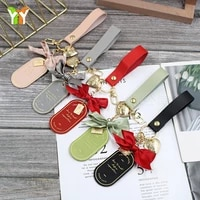 women luxury leather car keychain accessories ins popular korean style exquisite genuine bow purse immortal flower key chains