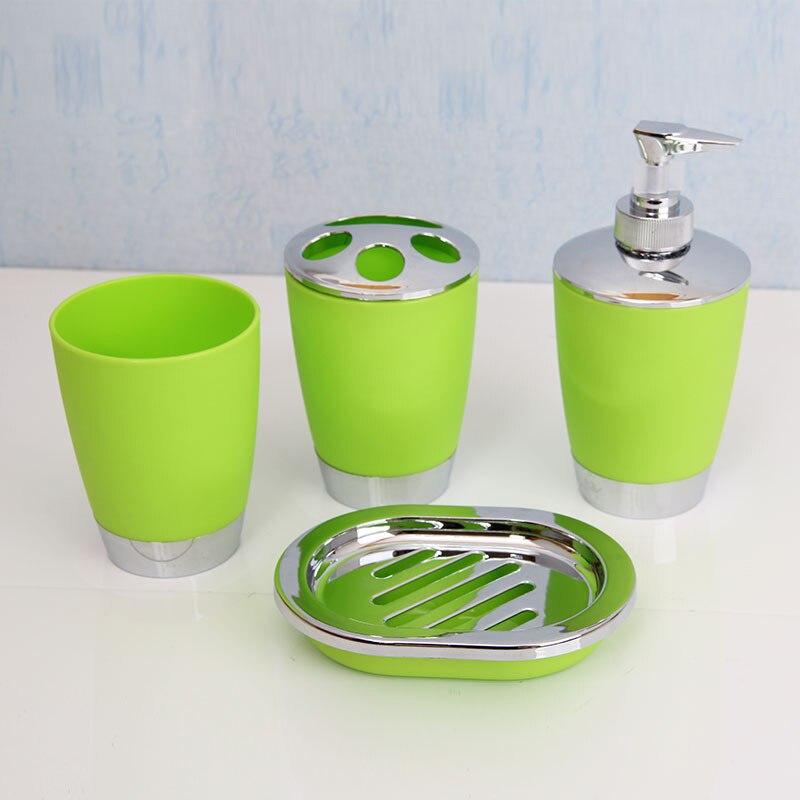 Пластиковый набор из четырех предметов для ванной комнаты, набор для ванной комнаты, матовое гальваническое покрытие, четыре набора