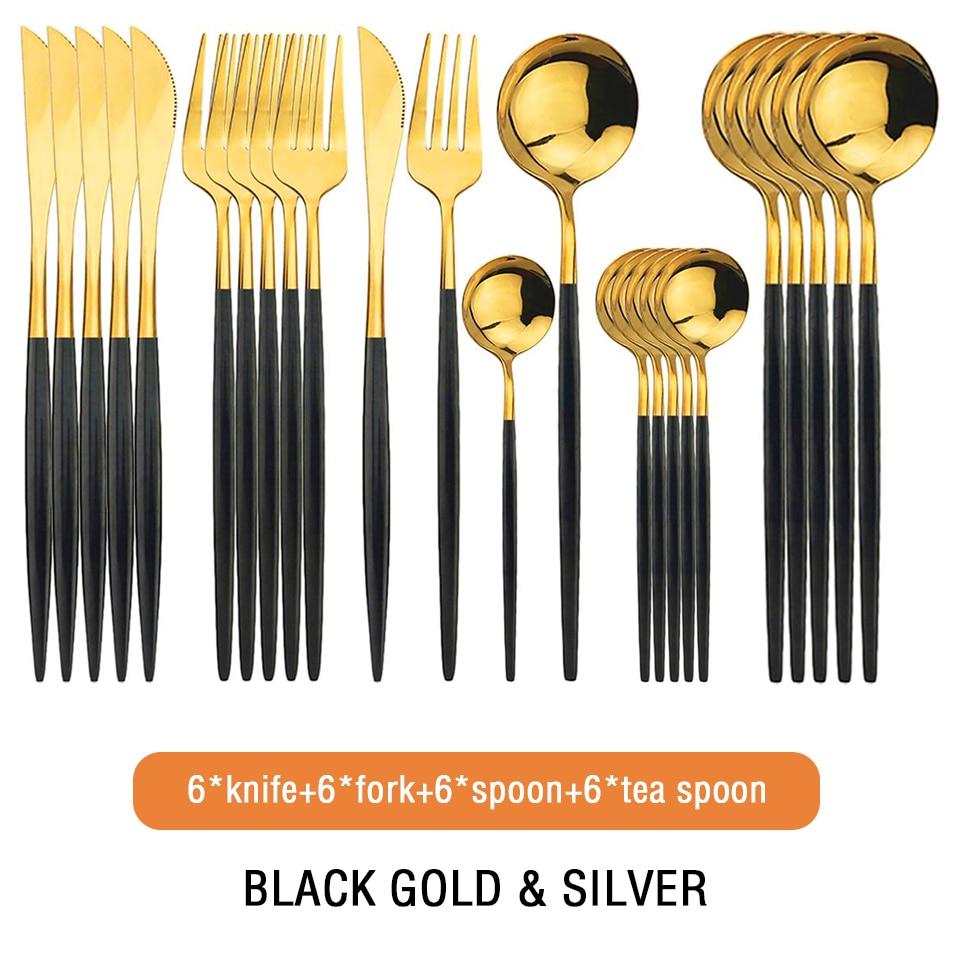 24 قطعة/المجموعة طقم أواني الطعام من الاستانلس استيل الأسود الذهب Slive المطبخ سكين شوكة ملعقة المائدة مع مربع غسالة صحون آمنة السكاكين