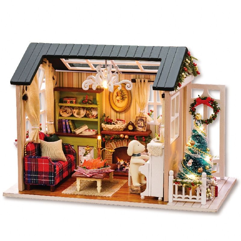 Рождественский кукольный домик, миниатюрный домик «сделай сам» с мебелью, деревянный рождественский кукольный домик, игрушки для детей, ро...
