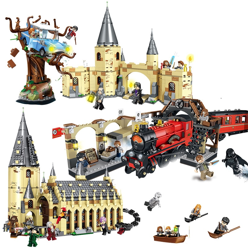 Harri película Castillo exprés reloj de tren Torre 75951, 75953, 75954, 75955, 75956, 75948 Juguetes de bloques de construcción regalos de navidad