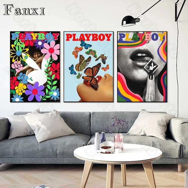 Fashion Canvas Painting Poster Wall Art Print Vogue Magazine Playboy Small Flowers Butterflies Red Lips Home Rooms Wall Decorati 2