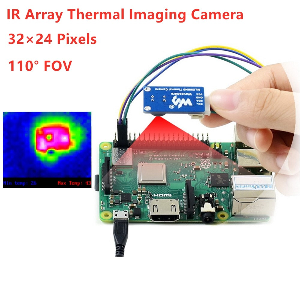 Waveshare IR Array Thermal Imaging Camera, 32×24 Pixels, 110° Field of View, I2C Interface, MLX90640