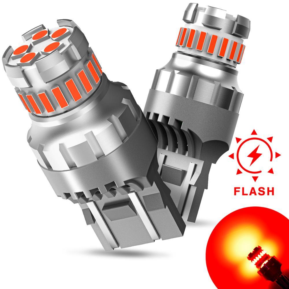 2x flash strobe t20 7443 w21/5 w wy21w carro led luz de freio led cauda sinal parar lâmpada back-up reverso lâmpada flash vermelho branco