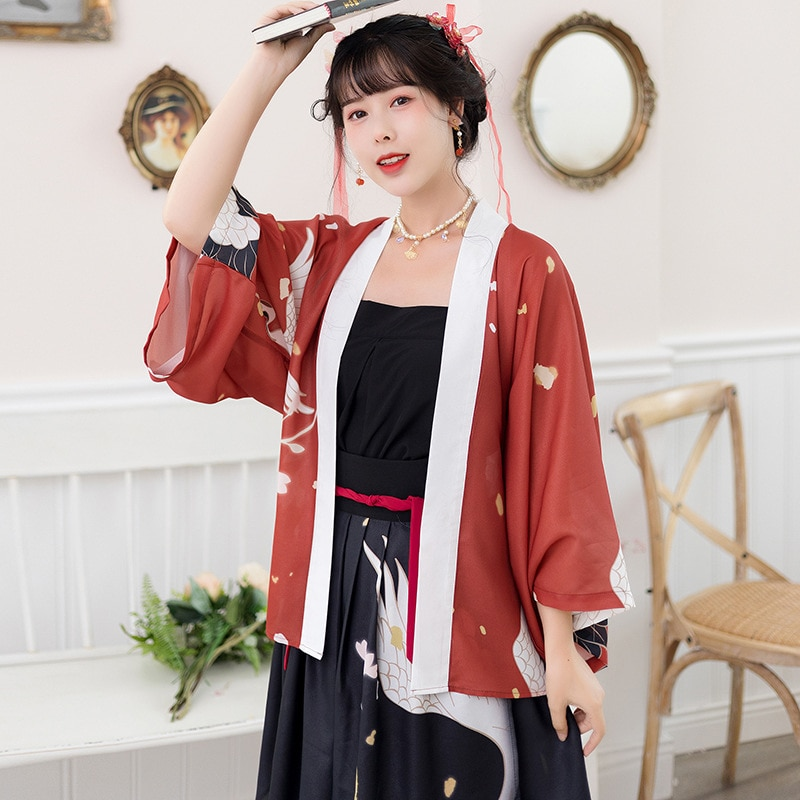 النمط الياباني كيمونو المرأة كرين طباعة 3 قطعة تأثيري الصينية القديمة الإناث فارس سترة هاوري الشرقية Hanfu فستان 2021