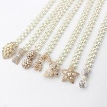 Cinturón elegante de perlas para mujer, cinturón con hebilla elástica, correa de vestir, hebilla de flores, regalo de cristal