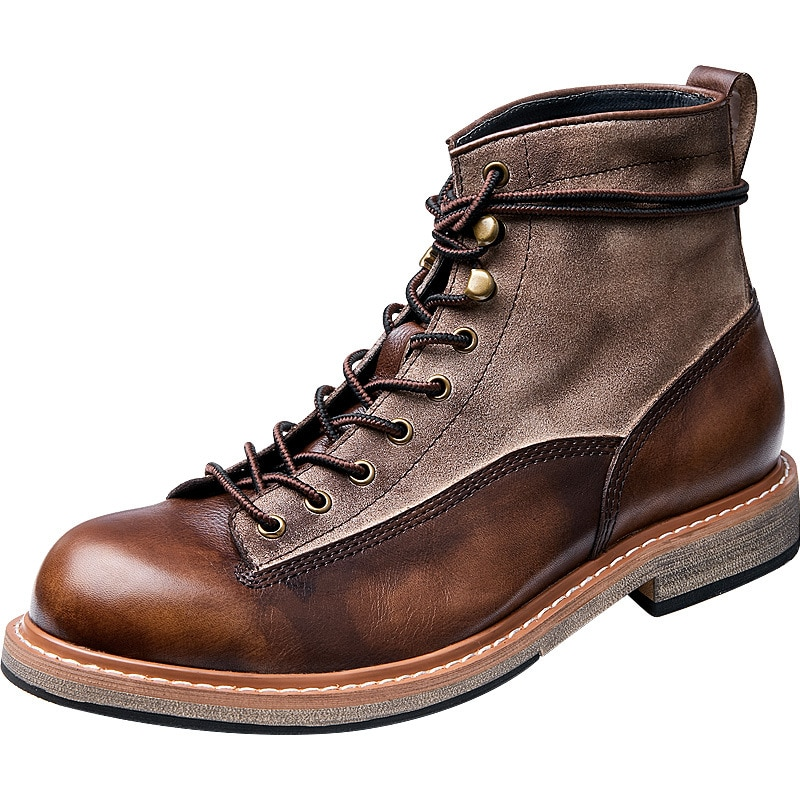 Desert Shoes Autumn Winter Military Boots Round Head Men Zipper Riding boots Cowhide Thick bottom Free Shipping