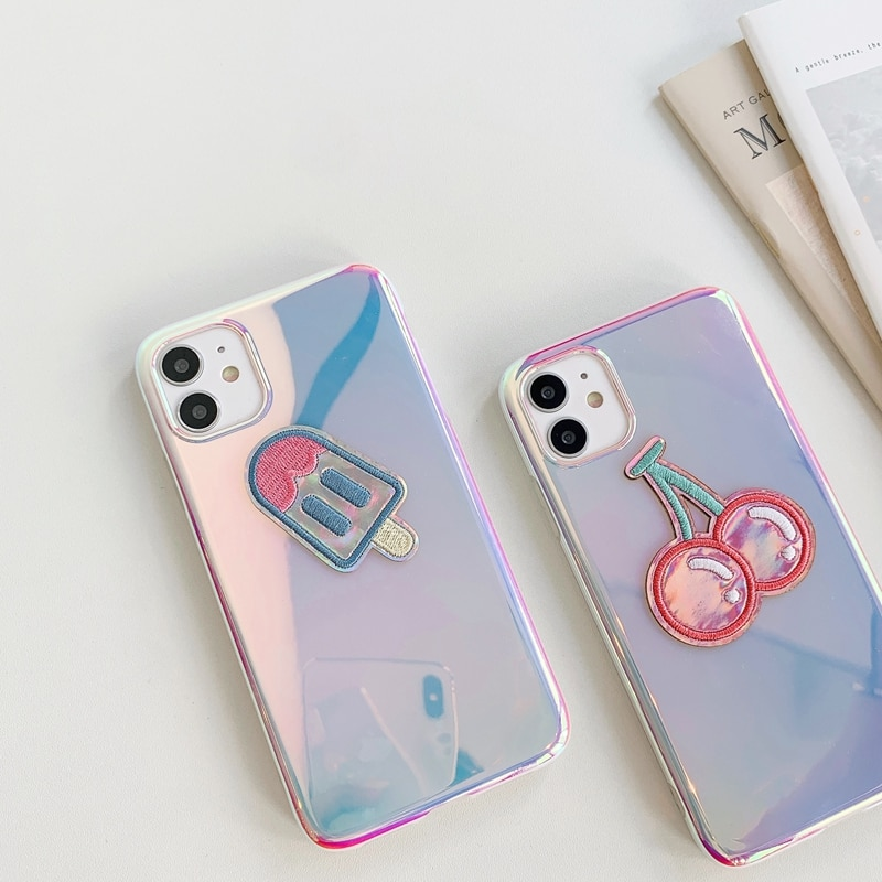 Funda de TPU de silicona suave holográfica con dibujo bordado de paleta brillante para iPhone SE 2020 X XR XS 11 Pro Max 8 7 6 6s Plus