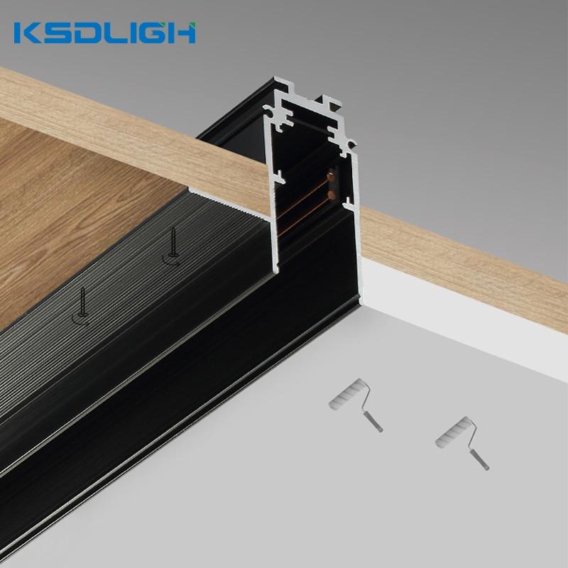 Soporte pista de luz led magnética de aluminio 1M iluminación empotrada para techo Perfil de lámpara para focos accesorios de cocina