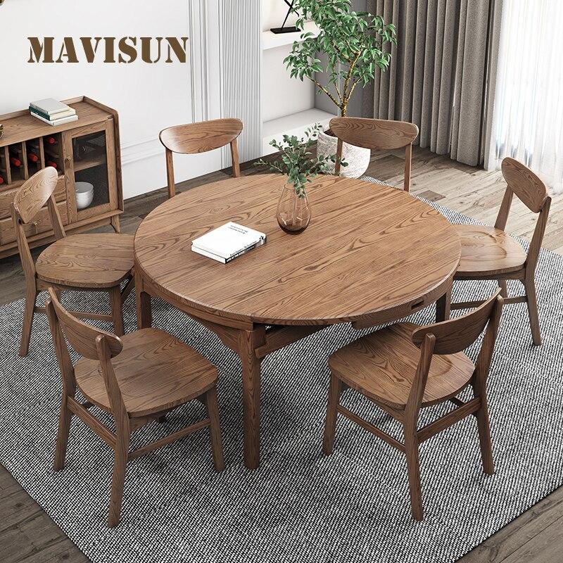 الشمال خشب متين طاولة طعام متعددة الوظائف المنزلية للطي تلسكوبي طاولة مستديرة الحديثة أثاث داخلي الجمع