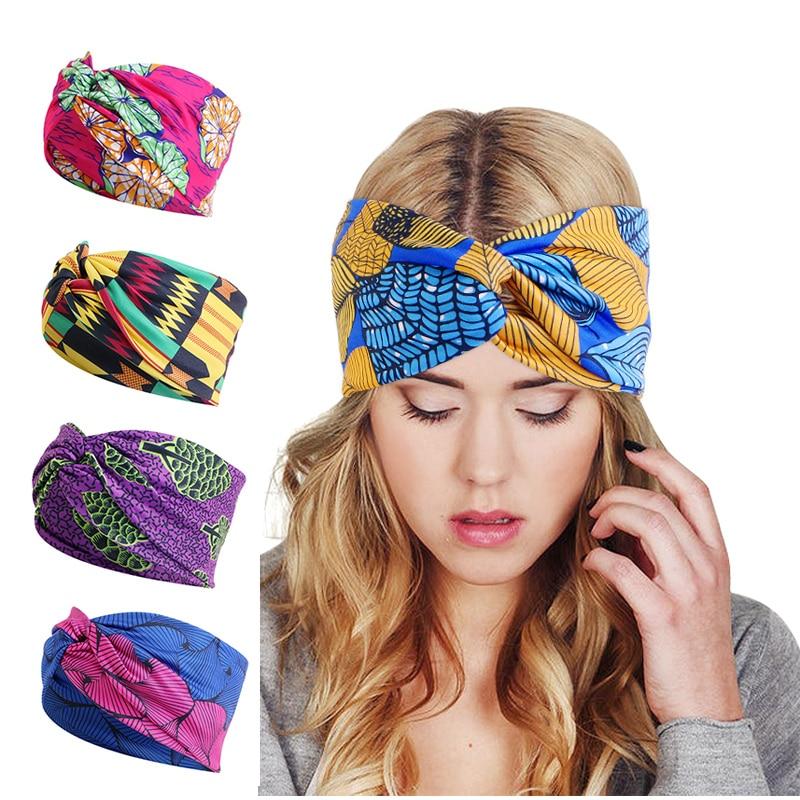 African Printed Twist Headband Women's Sports Elastic headwrap Hair Scarf Wide Stretch Hair Band Bandanas Hair Accessories