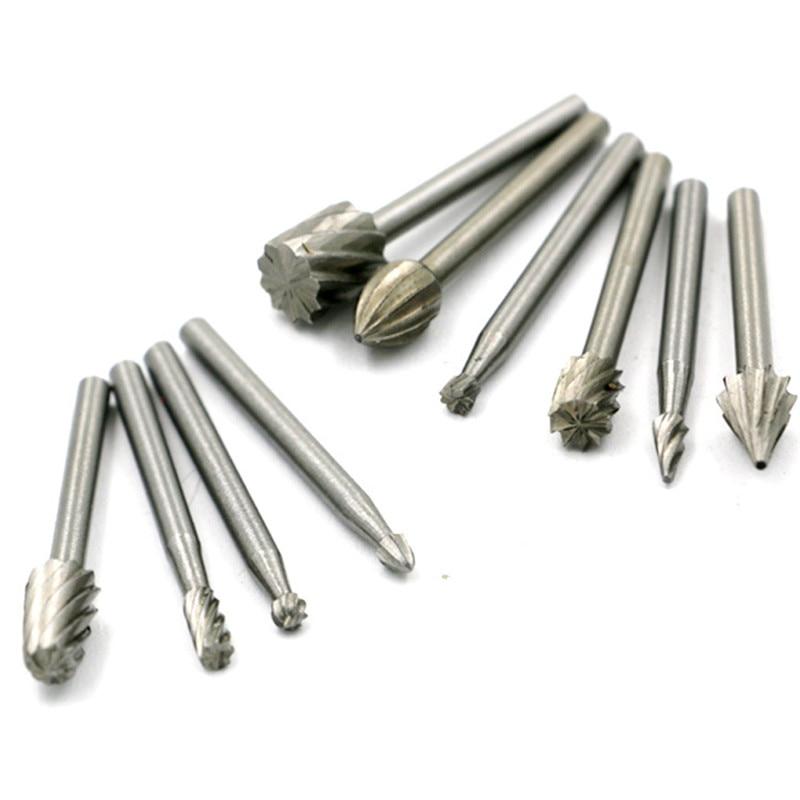 10 pezzi / set HSS titanio per Dremel fresatura rotante fresa file - Utensili abrasivi - Fotografia 4