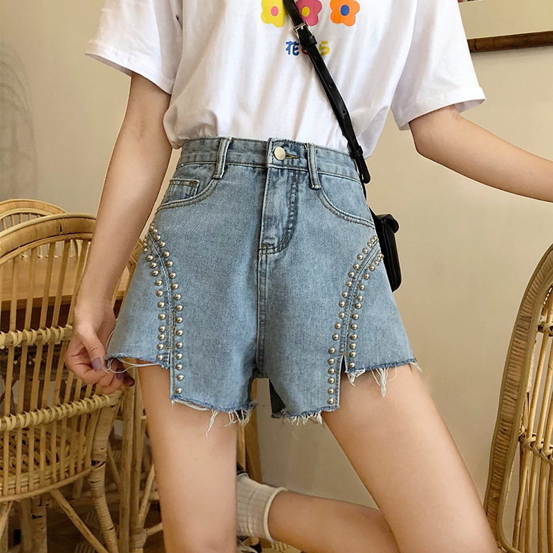 Casual Summer Beaded Denim Shorts For Womens Vintage High Waist Jeans Short Fashion Female  Streetwear Shorts Large Size
