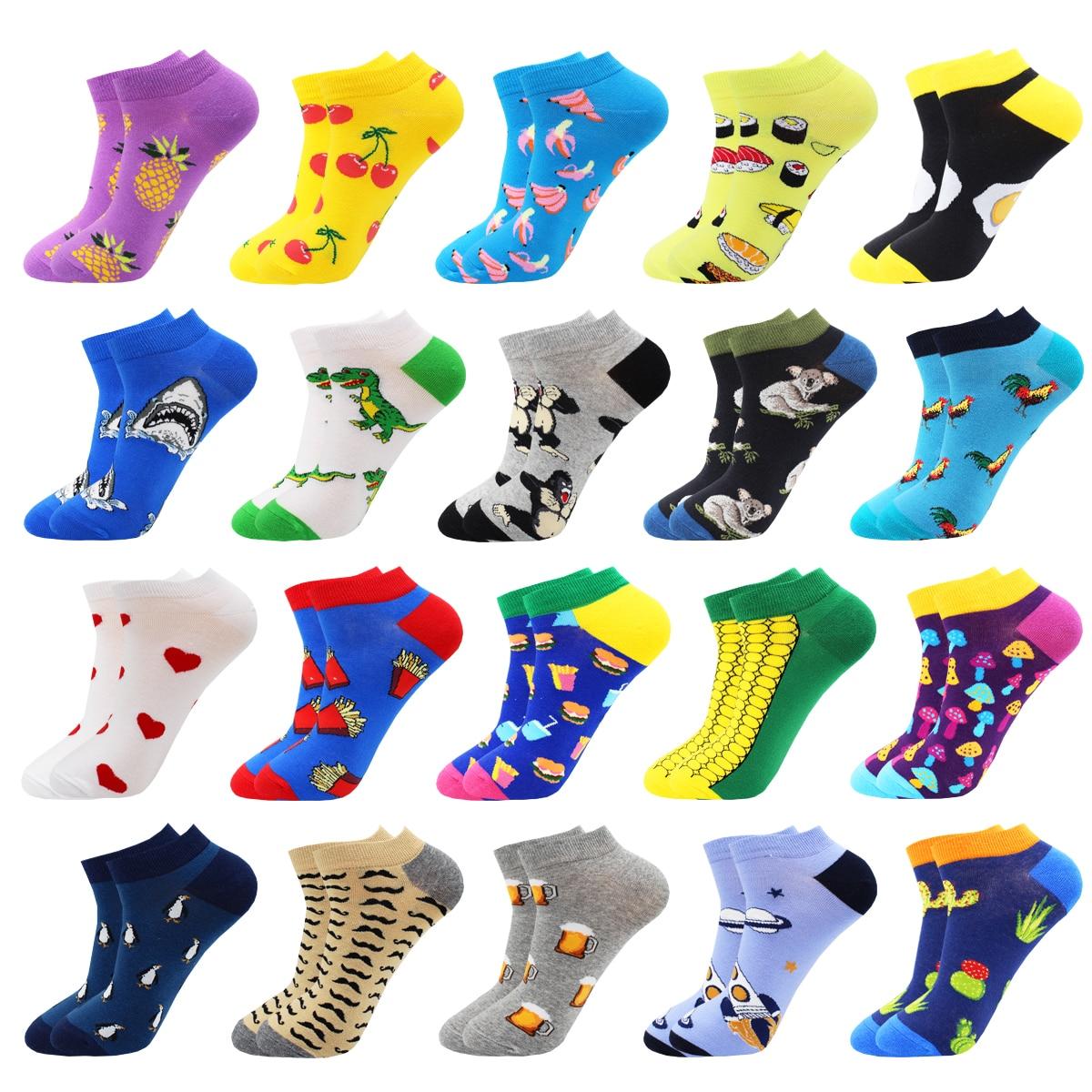 Hip Hop  Harajuku Fruit Animal Cotton Mens Socks Kawaii Pink Cute Fashion Pineapple Cactus Shark Happy Funny Casual Ankle Socks